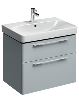 E500 Square 718mm Grey 2 Drawers Unit And 750mm 1 Centre TH Basin