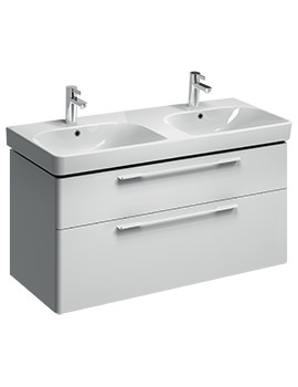 E500 Square 1168mm White 2 Drawers Unit And 1200mm Double Bowl Basin
