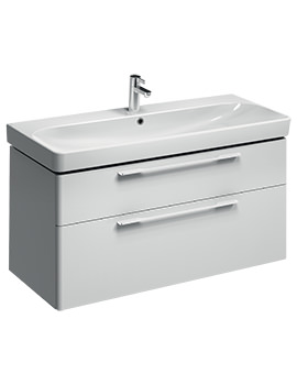 Twyford E500 Square 1168mm White 2 Drawers Unit For 1200mm Single Basin
