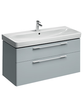 Twyford E500 Square 1168mm Grey 2 Drawers Unit For 1200mm Single Basin