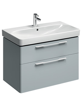 E500 Square 868mm Grey 2 Drawers Unit And 900mm 1 Centre TH Basin