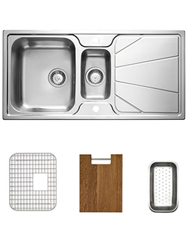 Related Astracast Korona 1.5 Bowl Stainless Steel Inset Sink And Accessories