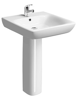 E100 Square 650 x 550mm Less Abled Washbasin With Full Pedestal