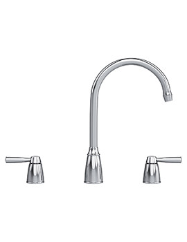 Augusta 3 Hole Kitchen Sink Mixer Tap Chrome