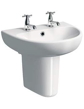 Twyford E100 Round 600 x 480mm 2 Tap Hole Washbasin With Semi Pedestal