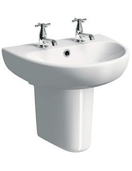 Twyford E100 Round 550 x 440mm 2 Tap Hole Washbasin With Semi Pedestal
