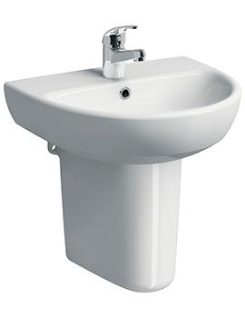 Twyford E100 Round 550 x 440mm 1 Tap Hole Washbasin With Semi Pedestal