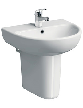 Related Twyford E100 Round 600 x 480mm 1 Tap Hole Washbasin With Semi Pedestal