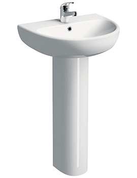 E100 Round 500 x 410mm 1 Tap Hole Washbasin With Full Pedestal