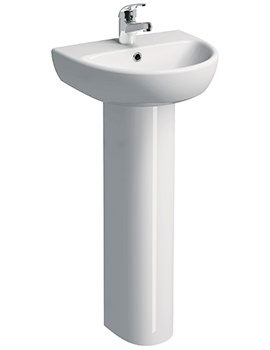 E100 Round 450 x 360mm 1 Tap Hole Washbasin With Full Pedestal