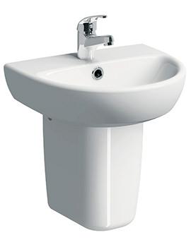 E100 Round 450 x 360mm 1 Tap Hole Washbasin With Semi Pedestal