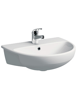E100 Round 550 x 440mm 1 Centre Tap Hole Semi-Recessed Basin