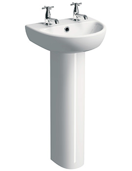 E100 Round 450 x 360mm 2 Tap Hole Washbasin With Full Pedestal