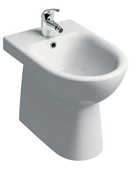 E100 Round 1 Tap Hole Floorstanding Back-To-Wall Bidet 530mm