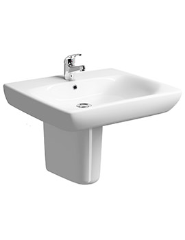 E100 Square 550 x 550mm Less Abled Washbasin With Semi Pedestal