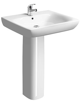 Related Twyford E100 Square 550 x 550mm Less Abled Washbasin With Full Pedestal