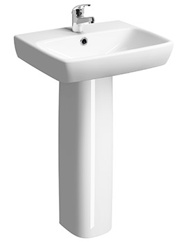 Related Twyford E100 Square 600 x 460mm 1 Tap Hole Washbasin With Full Pedestal