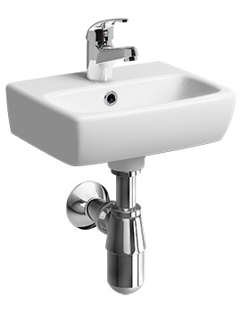 Twyford E100 Square 360 x 280mm 1 Tap Hole Handrinse Washbasin