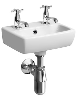 E100 Square 360 x 280mm 2 Tap Hole Handrinse Washbasin