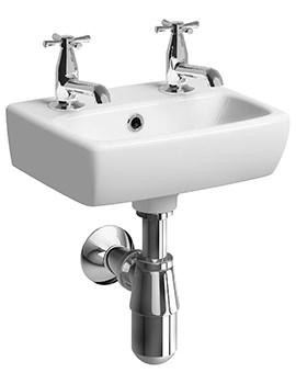 E100 Square 360 x 280mm 2 Tap Hole Handrinse Washbasin