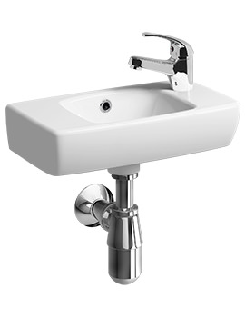 Twyford E100 Square 450 x 250mm 1 Right Hand Tap Hole Handrinse Basin