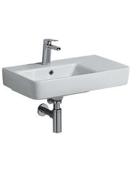 Related Twyford E200 650 x 370mm 1 Tap Hole Washbasin With Right Hand Shelf
