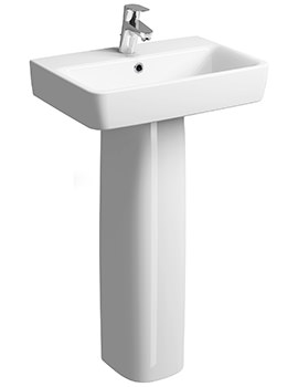 Related Twyford E200 600 x 370mm 1 Tap Hole Washbasin With Full Pedestal