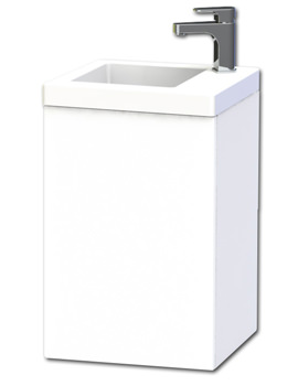 New York 40 White Wall Hung Basin Vanity Unit With Door