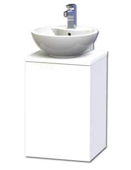 New York 40 White Wall Hung Basin Vanity Unit With Door And Worktop
