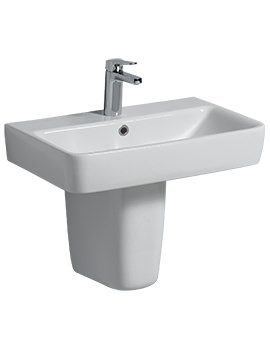 Twyford E200 600 x 370mm 1 Tap Hole With Semi Pedestal