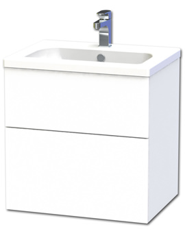 New York 60 White Two Drawer Wall Hung Vanity Unit - 288-2