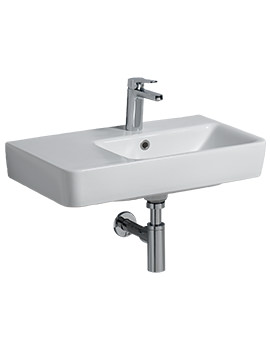 Twyford E200 650 x 370mm 1 Tap Hole Washbasin With Left Hand Shelf