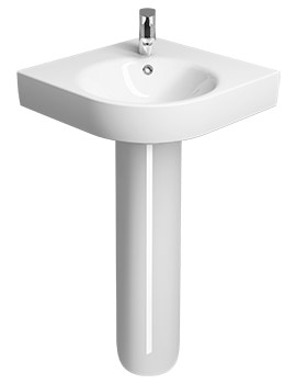 Twyford E200 500 x 500mm 1 TH Corner Washbasin With Full Pedestal