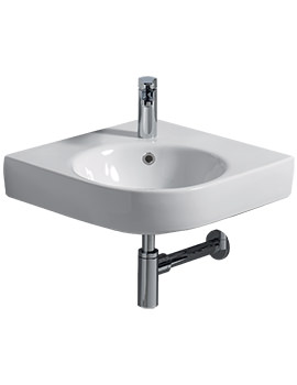 E200 500 x 500mm 1 Tap Hole Corner Washbasin - E24191WH