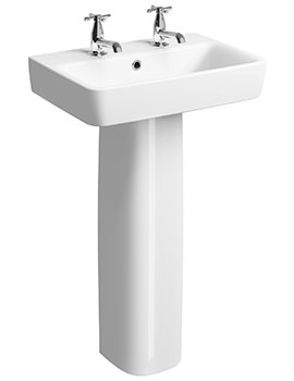 Twyford E200 550 x 370mm 2 Tap Hole Washbasin With Full Pedestal