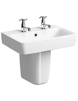 Related Twyford E200 550 x 370mm 2 Tap Hole Washbasin With Semi Pedestal
