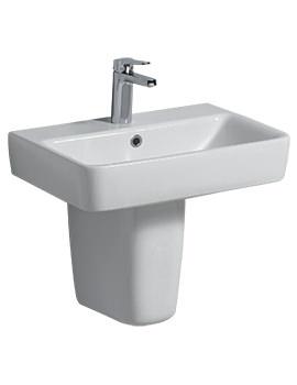 E200 550 x 370mm 1 Tap Hole Washbasin With Semi Pedestal