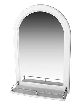 Traditional 1903 Mirror With White Arched Frame And Shelf