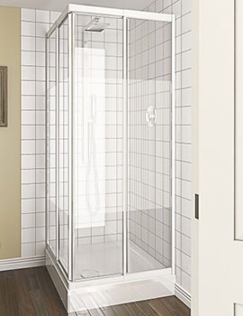 Aqualux Aqua 4 Telescopic Corner Entry Stripe Glass Enclosure 760-800mm