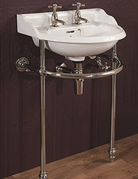 Silverdale Victorian Cloakroom Basin With Stand - Heated Towel Rail Chrome