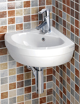 Thames 450mm 1 Tap Hole Corner Basin - SILTH601