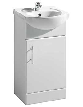 Beo Gloss White Freestanding 450mm Vanity Unit And Basin