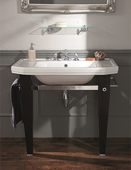 920mm Basin With Empire Wood And Chromed Brass Stand Ebony Black