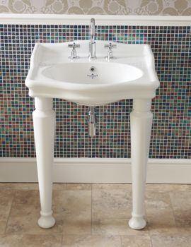 Hillingdon 650mm 3 Taphole Console Basin With Leg Set