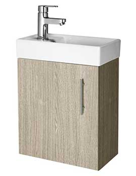 Lauren Minimalist 400mm Light Oak Wall Hung Cabinet And Basin