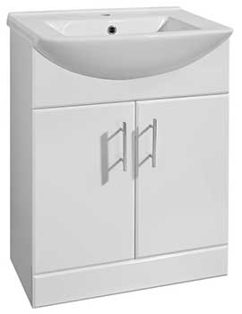 Lauren Mayford 650mm White Floor Standing Basin And Unit - VTM650