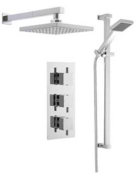 Lauren Bundle - 2 - Triple Valve With Square Fixed Head And Slide Rail Kit