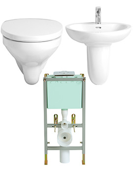 Related Heritage Caprieze Bundle 2 - Wall Hung Basin And WC With Frame And Cistern