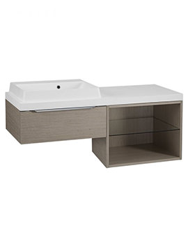 Tavistock Array Light Java Single Drawer Basin Unit With 600mm Open Unit