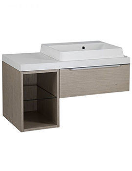 Tavistock Array Light Java Single Drawer Basin Unit With 300mm Open Unit